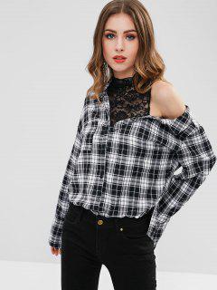 Cutout High Neck Plaid Shirt - Black M