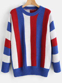Ribbed Detail Color Block Sweater - Multi S