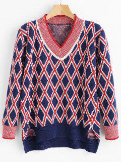 High Low Argyle Sweater - Multi
