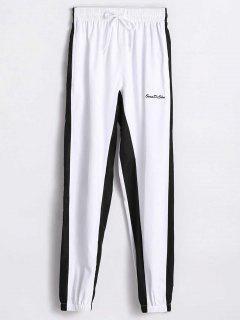 Two Tone High Waist Pants - White L