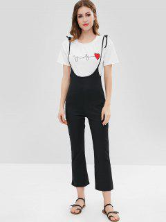 Self Tie Straps Suspender Pants - Black M