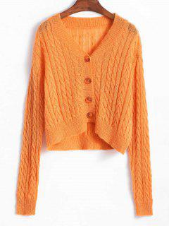 Cable Knit Cropped Cardigan - Tangerine