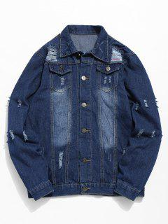 Ripped Hole Patch Denim Jacket - Denim Blue Xs