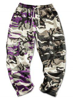 Contrast Color Camo Pattern Cargo Pants - Camouflage Green M
