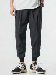 Drawstring Narrow Feet Casual Pants - Black M