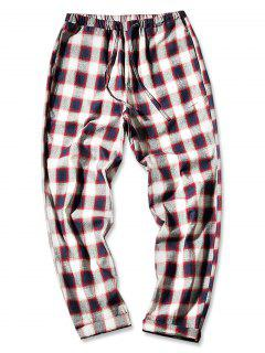 Drawstring Check Print Straight Leg Pants - Red Wine L