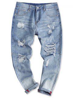Jean Style Déchiré à Ourlets Retroussés - Bleu Toile De Jean 38