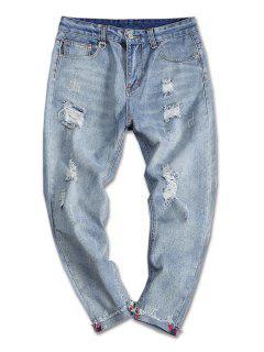Turnup Bottom Ripped Denim Jeans - Denim Blue 32