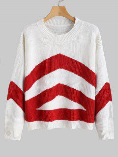 Contrast Sweater With Drop Shoulder - Red S