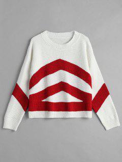 Contrast Drop Shoulder Sweater - Red M