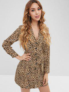 ZAFUL Button Up Leopard Shirt Dress - Leopard S