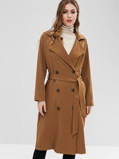 ZAFUL Belted Double-breasted Trench Coat - Light Brown M