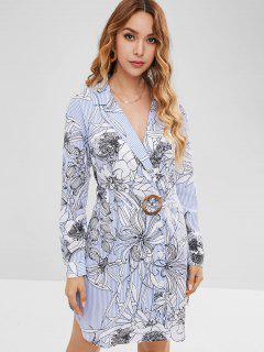 ZAFUL Button Up Floral Stripes Mini Dress - Multi L
