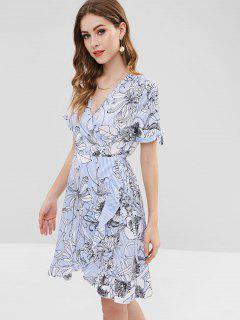 ZAFUL Floral Stripes Ruffles Wrap Dress - Multi S