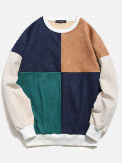 ZAFUL Color Block Suede Sweatshirt - Multicolor M