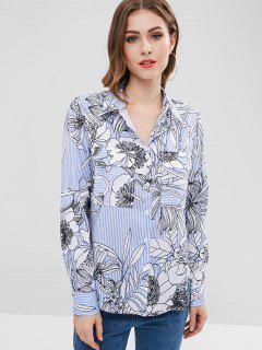 ZAFUL - Gestreiftes High-Low-Shirt Mit Blumenmotiv - Multi S