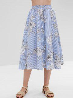 ZAFUL Buttoned Striped Floral Skirt - Multi L