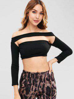ZAFUL Off Shoulder Stricken Ausgeschnitten Crop Top - Schwarz L