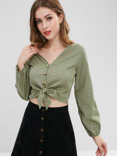 Front Knot Long Sleeve Blouse - Army Green L