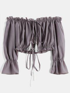 Lazo Del Frente Del Top Corto Del Hombro - Púrpura De Viola 2xl