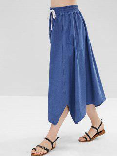 Asymmetric Chambray A Line Skirt - Blue Xl