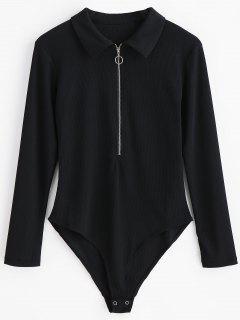 Half Zip Long Sleeves Bodysuit - Black L