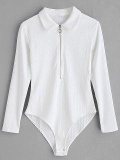 Half Zip Long Sleeves Bodysuit - White S