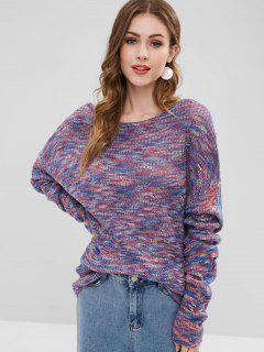 Space Dye Twist Open Back Oversized Sweater - Multi M