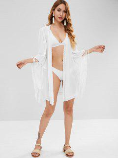 Tassel Wrap Cove Up Dress - White M