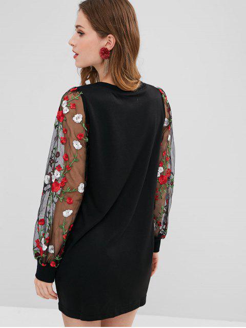 shop Floral Mesh Panel Longline Sweatshirt - BLACK L Mobile