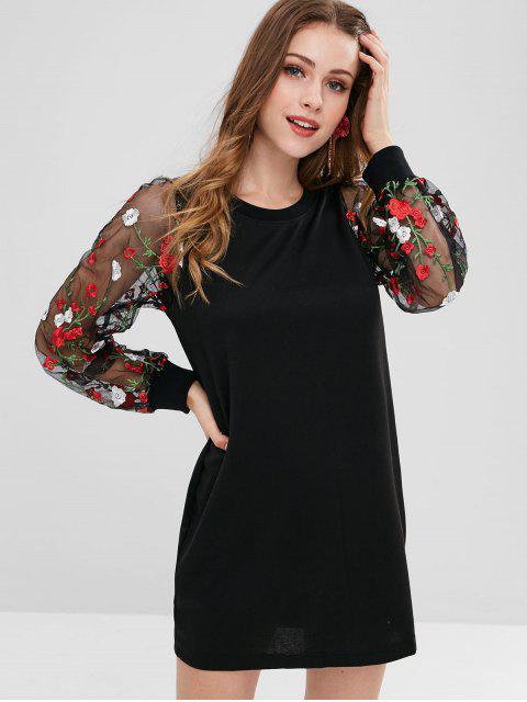 Sweat-shirt Long à Manches en Tulle Florale - Noir S Mobile