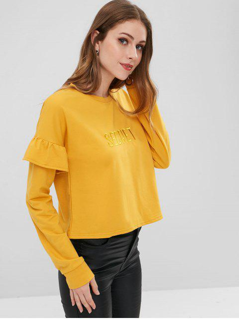 outfits Letter Embroidered Patch Ruffles Sweatshirt - GINGER M Mobile