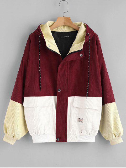Veste en velours côtelé à blocs de couleurs - Rouge Cerise L Mobile