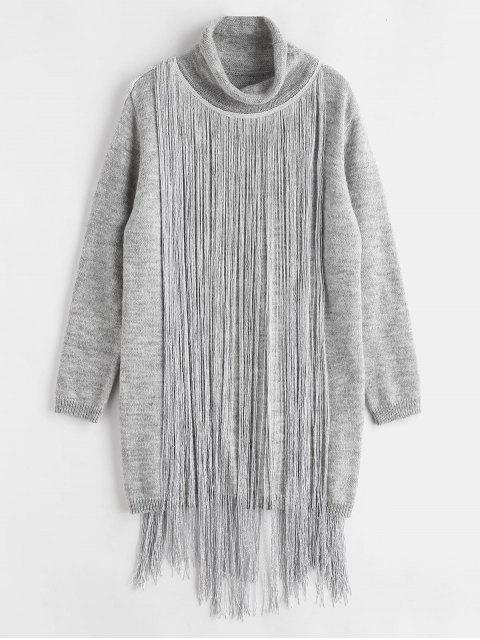 Vestido de suéter de cuello alto con flecos - Ganso Gris Talla única Mobile