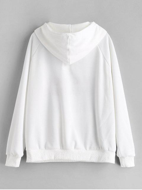 shop Lace Up Graphic Embroidered Hoodie - WHITE M Mobile