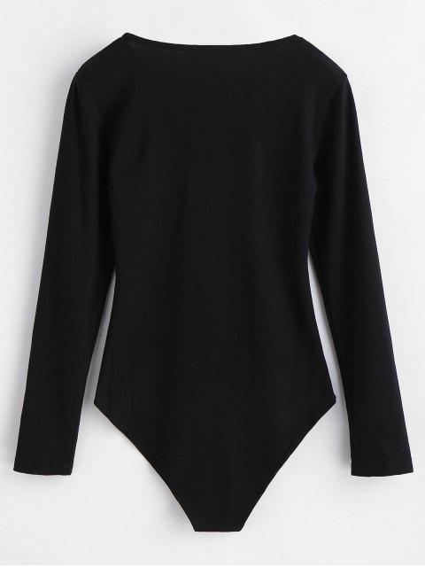 women's Long Sleeves Lace-up Bodysuit - BLACK M Mobile