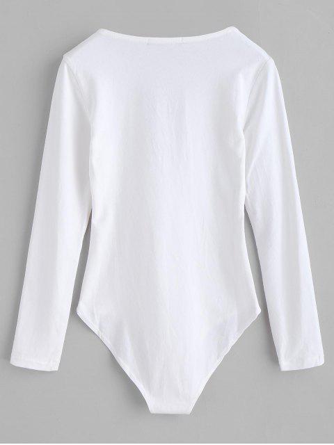 Lange Ärmel Lace-up-Strampler - Weiß M Mobile