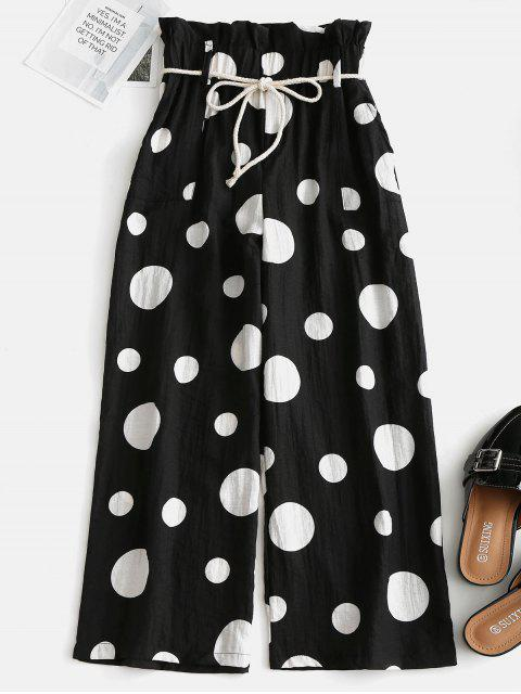 Polka Dot Paperbag Pantalones anchos - Negro Talla única Mobile