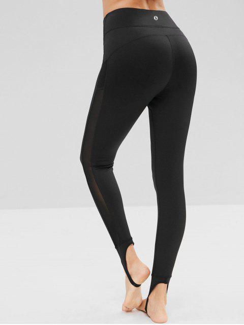 Malla Insertar Leggings de estribo de cintura alta - Negro S Mobile