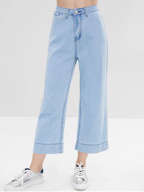 Vaqueros de pierna ancha con bolsillo de lavado claro - Azul Claro L Mobile