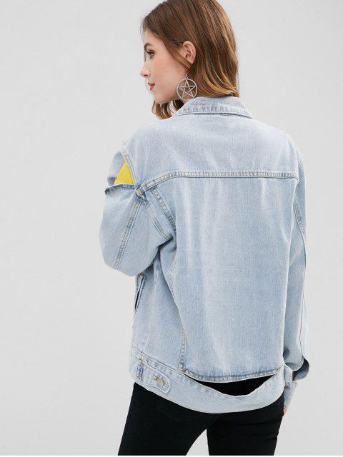 shop BUttons Embellished Cut Out Denim Jacket - BLUE GRAY S Mobile