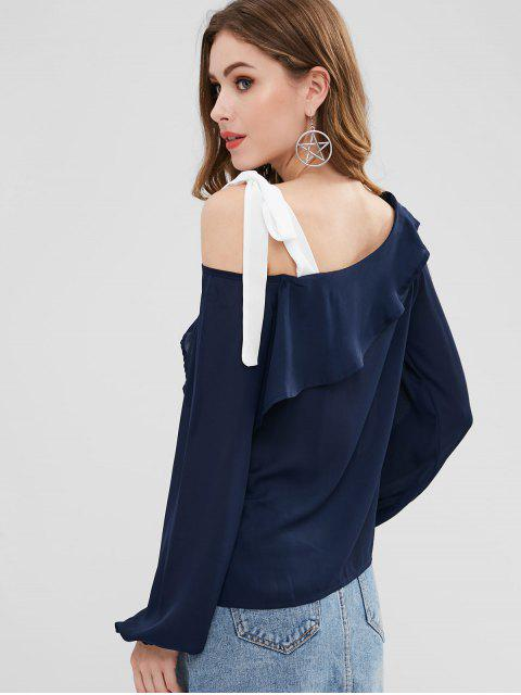 chic Ruffle Cold Shoulder Blouse - MIDNIGHT BLUE ONE SIZE Mobile