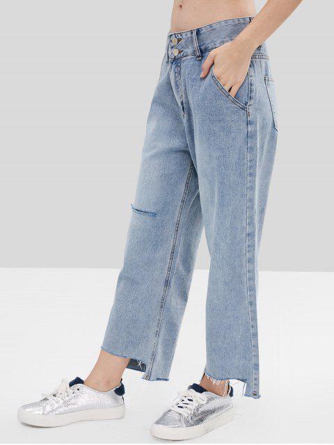 Pantalones vaqueros anchos rasgados - Azul Claro L Mobile