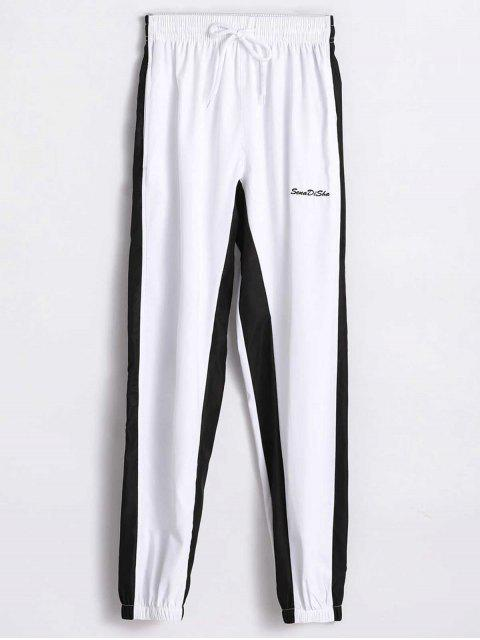 Pantalones de cintura alta de dos tonos - Blanco M Mobile
