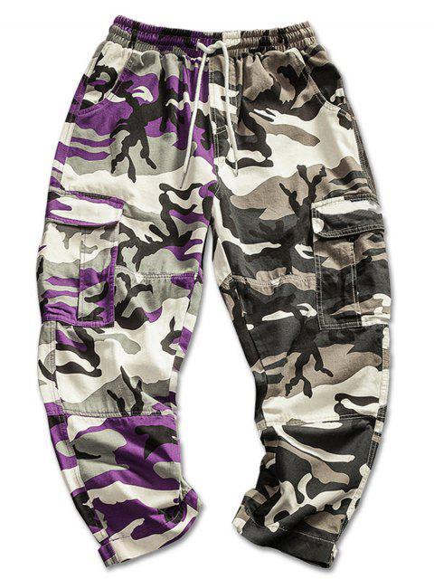 Pantalon Cargo Motif Camouflage de Couleurs Contrastées - Vert Camouflage S Mobile