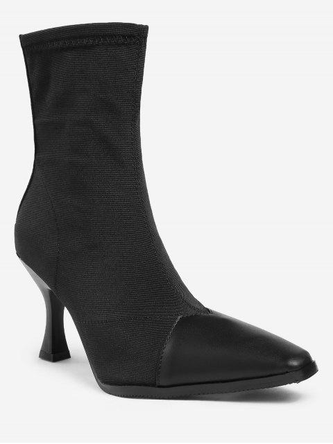 fashion ZAFUL Contrasting Color Pointed Toe Short Boots - BLACK 36 Mobile