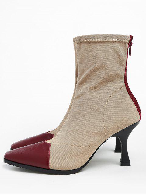 ZAFUL Контрастный цвет С острым носком Короткие Сапоги - Каштановый красный 39 Mobile