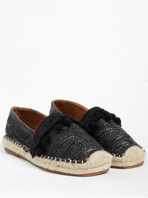 Chaussures Plates en Paille avec Frange et Pompon - Noir 39 Mobile