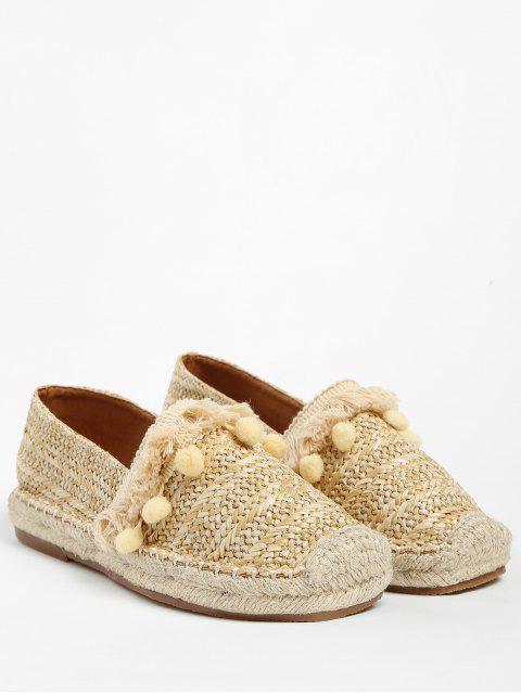 Chaussures Plates en Paille avec Frange et Pompon - Abricot 40 Mobile