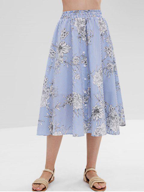 ZAFUL Falda de rayas florales abotonada - Multicolor L Mobile